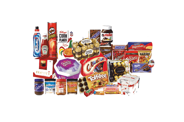 All kinds of food and consumer products